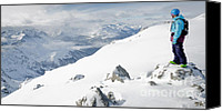 Snowboarder Canvas Prints - SUMMIT SNOWBOARDER planning the descent from Weissfluhgipfel Davos  Canvas Print by Andy Smy