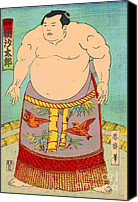 Sumo Wrestler Canvas Prints - Sumo Wrestler Asashio Taro Canvas Print by Padre Art