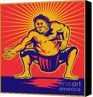 Sumo Wrestler Canvas Prints - Sumo wrestler crouching retro woodcut Canvas Print by Aloysius Patrimonio