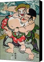 Sumo Wrestler Canvas Prints - Sumo Wrestling Canvas Print by Granger