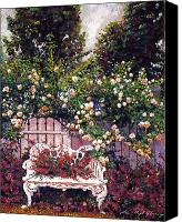 Fences Canvas Prints - Sumptous Cascading Roses Canvas Print by David Lloyd Glover