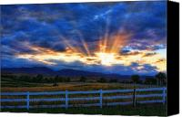 "\""striking Photography\\\"" Canvas Prints - Sun beams in the sky at sunset Canvas Print by James Bo Insogna"