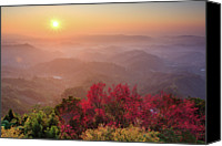 Layered Canvas Prints - Sun Burst, Cherry Blossoms And Mountain Layers Canvas Print by Samyaoo