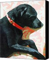 Linda Apple Canvas Prints - Sun Dog - dog portrait oil painting Canvas Print by Linda Apple