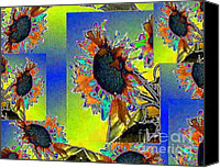 Black Canvas Prints - Sun Flowers Canvas Print by Navo Art