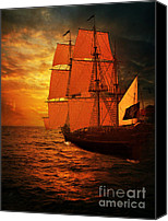 Ocean Pyrography Canvas Prints - Sun Set and Ship Canvas Print by Eugene James