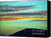 Diane Hewitt Canvas Prints - Sun Sets Over Blue Ridge Mountains Canvas Print by Diane Hewitt