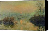 Setting Painting Canvas Prints - Sun Setting over the Seine at Lavacourt Canvas Print by Claude Monet