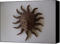 Home Decor Sculpture Canvas Prints - Sun Wall Hanging Face Canvas Print by Warli Triabesman Artists
