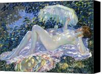 Sun Tan Canvas Prints - Sunbathing Canvas Print by Frederick Carl Frieseke