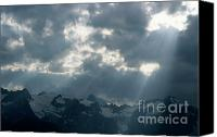 Peak One Canvas Prints - Sunbeams playing over the Barre des Ecrins and La Meije mountains in the French Alps Canvas Print by Sami Sarkis