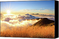 Mountain Scene Canvas Prints - Sunburst Over Mountain With Clouds Canvas Print by Samyaoo