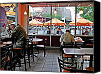 Tables Canvas Prints - Sunday Afternoon at Dunkin Donuts Canvas Print by Sarah Loft