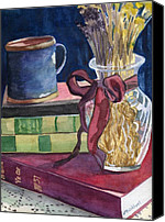 Library Painting Canvas Prints - Sunday Afternoon Canvas Print by Lynne Reichhart