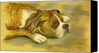 Boxer Pastels Canvas Prints - Sunday Arts Fair Dog in a Mood Canvas Print by Deborah Willard