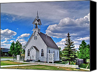 Old Wood Building Canvas Prints - Sunday Go to Meeting Church Canvas Print by Ken Smith
