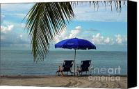 Beach Chairs Canvas Prints - Sunday Morning at the Beach in Key West Canvas Print by Susanne Van Hulst
