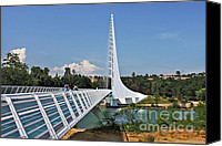 Bridge Crossing River Photo Canvas Prints - Sundial Bridge - Sit and watch how time passes by Canvas Print by Christine Till