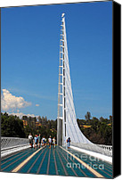 Bridge Crossing River Photo Canvas Prints - Sundial bridge - This bridge is a glass-and-steel sculpture Canvas Print by Christine Till