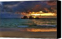 Ocean Photography Canvas Prints - Sundown Canvas Print by Ryan Wyckoff