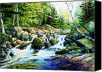 Snowy Landscape Painting Canvas Prints - Sunfish Creek Canvas Print by Hanne Lore Koehler