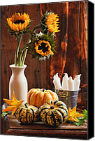 Setting Canvas Prints - Sunflower and Gourds Still Life Canvas Print by Christopher Elwell and Amanda Haselock