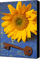 Tables Canvas Prints - Sunflower and skeleton key Canvas Print by Garry Gay