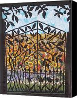 Impressionism Tapestries - Textiles Canvas Prints - Sunflower Garden Gate Canvas Print by Sarah Hornsby