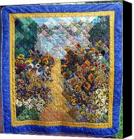 Impressionist Tapestries - Textiles Canvas Prints - Sunflower path Quilt Canvas Print by Sarah Hornsby
