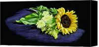 Wet Pastels Canvas Prints - Sunflower Canvas Print by Vanda Luddy