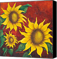 Bold Colors Painting Canvas Prints - Sunflowers at Sunset Canvas Print by Pamela Allegretto