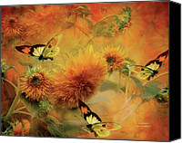 Canvas Mixed Media Canvas Prints - Sunflowers Canvas Print by Carol Cavalaris