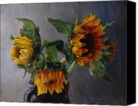 Floral Florals Canvas Prints - Sunflowers Canvas Print by Donna Theis