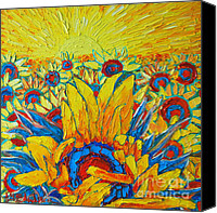 Abstract Realist Landscape Canvas Prints - Sunflowers Field In Sunrise Light Canvas Print by Ana Maria Edulescu