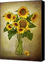 Yellow Flower Canvas Prints - Sunflowers In Vase Canvas Print by  Leslie Nicole Photographic Art
