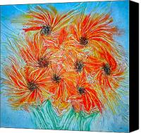 Blue Flowers Reliefs Canvas Prints - Sunflowers Canvas Print by Marie Halter