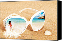 Bikini Canvas Prints - Sunglasses In The Sand Canvas Print by Christopher Elwell and Amanda Haselock