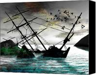 Ship Mixed Media Canvas Prints - Sunk Canvas Print by Monroe Snook