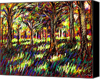 Giclee Trees Canvas Prints - Sunlight Through The Trees Canvas Print by John  Nolan