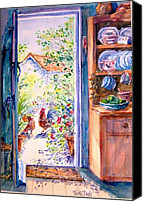 Kitchen Dresser Canvas Prints - Sunlit cottage doorway  Canvas Print by Trudi Doyle