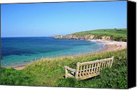 Bench Canvas Prints - Sunny Day At Thurlestone Beach Canvas Print by Photo by Andrew Boxall