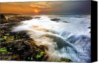 Wave Pyrography Canvas Prints - Sunrise at Atlantic Ocean Canvas Print by Shobeir Ansari