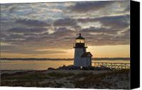 Lighthouse Canvas Prints - Sunrise at Brant Point Nantucket Canvas Print by Henry Krauzyk