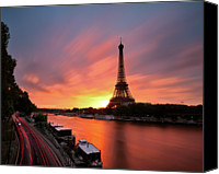 Trail Canvas Prints - Sunrise At Eiffel Tower Canvas Print by  Yannick Lefevre - Photography