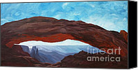 Estephy Sabin Figueroa Painting Canvas Prints - Sunrise at Mesa Arch Canvas Print by Estephy Sabin Figueroa