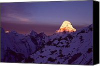 Nepal Canvas Prints - Sunrise At Mt. Ama Dablam Canvas Print by Pal Teravagimov Photography