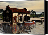 Featured Digital Art Special Promotions - Sunrise at the Wharf Canvas Print by John Pangia