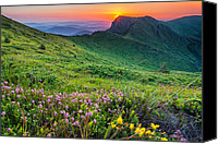 Peak Canvas Prints - Sunrise behind Goat Wall Canvas Print by Evgeni Dinev