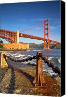 Golden Gate Bridge Tower Blue Sky Canvas Prints - Sunrise below Golden Gate Canvas Print by Brian Jannsen