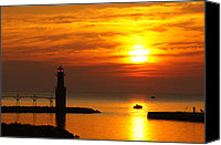 Door County Canvas Prints - Sunrise Brushstrokes Canvas Print by Bill Pevlor